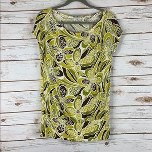 Trina Turk small cap sleeve top floral green brown